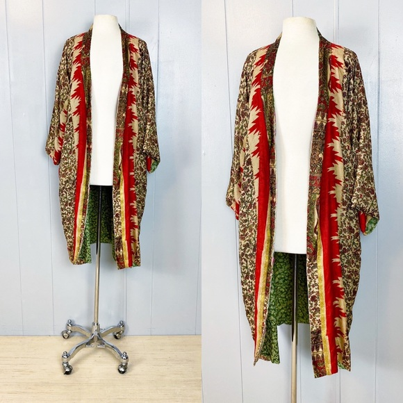 Red & Gold 100% Silk Indian Kimono | Vintage